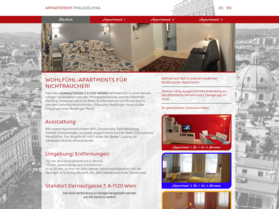 Webdesign aus Wien: Design und Umsetzung des Relaunch im Auftrag eines Partners; Kunde: Appartement Philadelphia