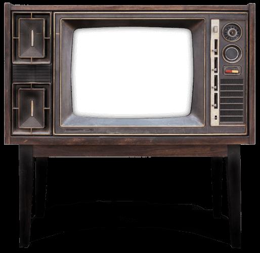 Ein altmodischer Fernseher präsentiert Arbeiten aus dem Bereich Webdesign und Grafikdesign.